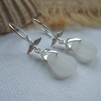 Angelwings...Scottish white sea glass sterling silver earrings, elegant earrings