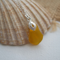 Yellow sea glass pendant, yellow beach glass necklace, Spanish sea glass