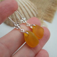 Yellow sea glass earring, Spanish beach glass earrings, flower dangling