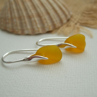 Yellow sea glass earring, yellow beach glass earrings, wave design sterling