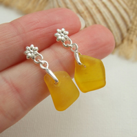 Yellow sea glass earring, yellow beach glass earrings, flower studs sterling