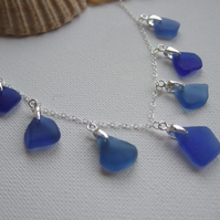 Blue sea glass necklace, ocean coloured beach glass necklace, Scottish blues col