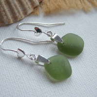 Scottish sea glass earrings, sterling silver green bea glass, heart shaped