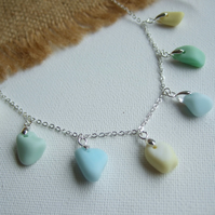 Pastel Seaham sea glass necklace, multi coloured sea glass necklace, 1950s color