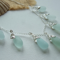 Seaham sea foam sea glass necklace, sea glass necklace, art deco inspired
