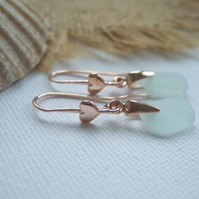Scottish sea glass earrings, 18K rose gold on sterling silver sea foam sea glass