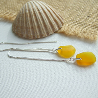 Yellow sea glass earring, beach glass earrings, Spanish sea glass sterling
