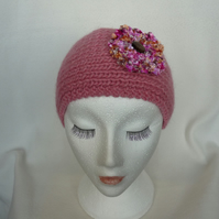 Hand-Knitted EarWarmer or HeadBand in PINK CHUNKY Yarn with PINK Velvet Flower
