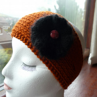 Hand-Knitted EarWarmer or HeadBand in Brown (TAN) with BLACK Fluffy Flower