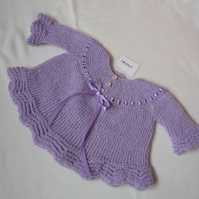 Hand-Knitted Angel Top for Baby Girl - Pale Purple (Lilac)