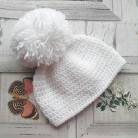 Pure white baby hat. Pom pom hat. Various sizes.
