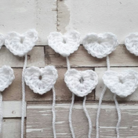 Set of 10 crochet white hearts. Embellishments, adornments, crochet, sewing,