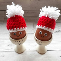 Christmas themed red and white egg warmer egg cosey stocking filler,