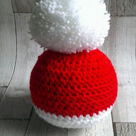 Crochet newborn baby unisex Christmas themed hat with pom pom, photography prop.