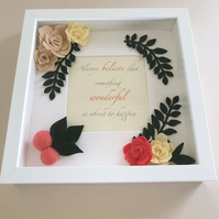 Box Frame 3D Art Photo Frame Handmade Gift Felt Flower Wall Art