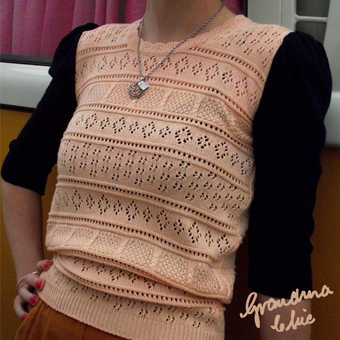 Peach and navy upcycled jumper