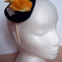 Yellow floral fascinator