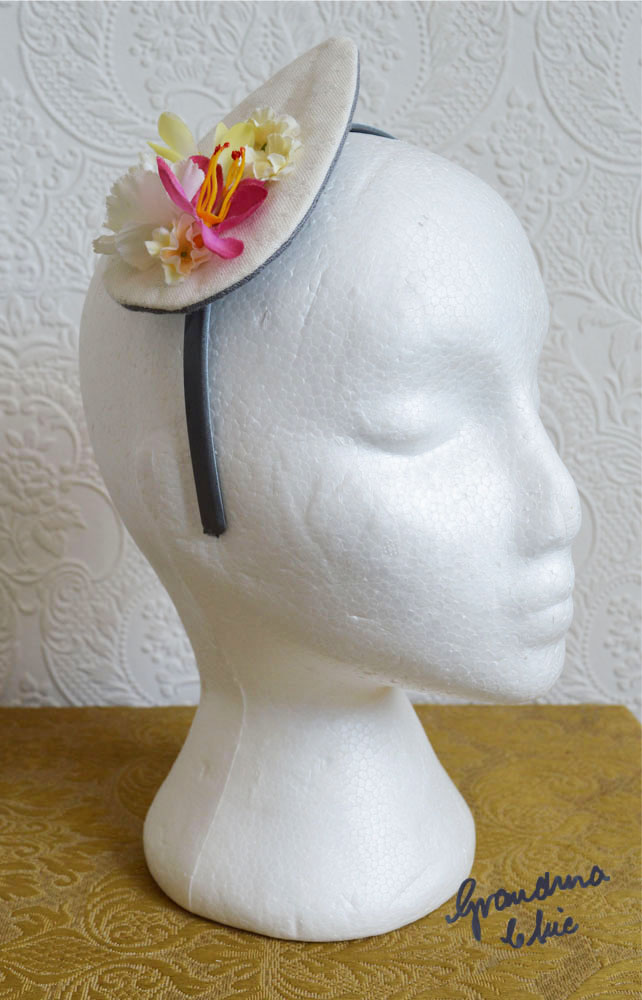 Handmade Fascinator 'Deep Pink and Lemon'