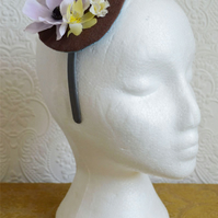 Handmade Fascinator 'Mauve and Nutmeg'
