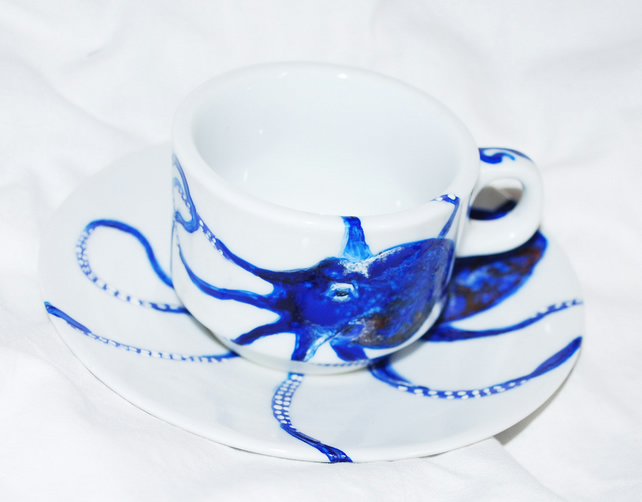 Hand painted octopus espresso coffee cup