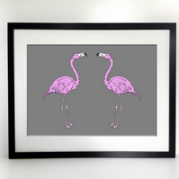 A3 Flamingos graphic print