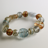 Striped Stretch Glass Bead Bracelet