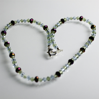 Beautiful Purple and Green Crystal Necklace - UK Free Post