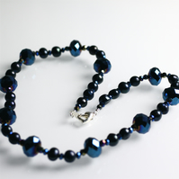 Blue Iris Crystal and Dark Pearl Necklace