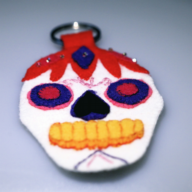 Mexican Sugar Skull Key Ring