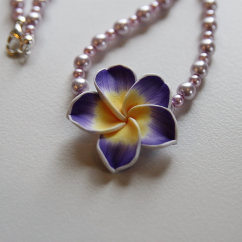 Purple flower and pink pearl necklace