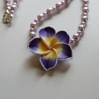 Purple flower and pink pearl necklace - UK Free Post