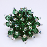 Beautiful Green Crystal Bead Brooch