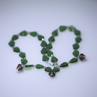 Leaf and Flower Glass Bead Necklace
