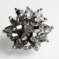 Metallic 'Diamond' Crystal Bead Brooch