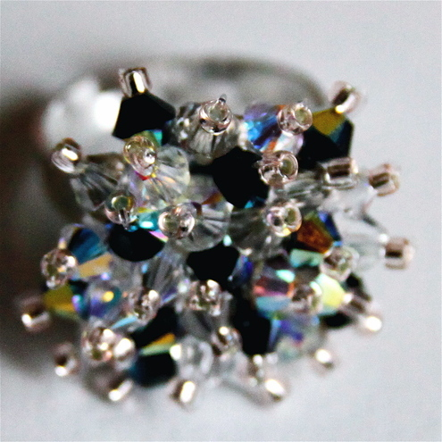 Swarovski Crystal Bead Adjustable Ring