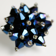 Metallic Blue Crystal Bead Brooch