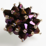 Deep Purple Crystal Bead Brooch