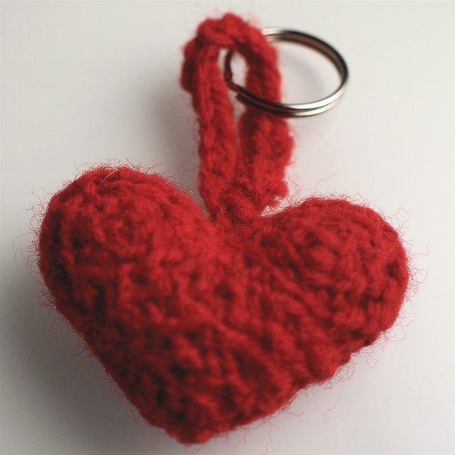 Amigurumi Heart Key Ring
