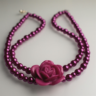 Hot Pink Pearl Necklace - UK Free Post