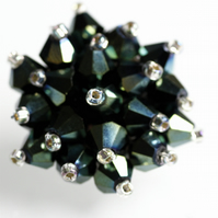 Metallic Green Crystal Bead Brooch