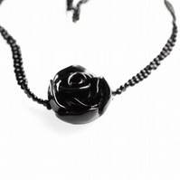 Black Flower Necklace - UK Free Post