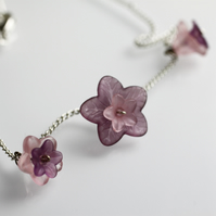 Pretty Pink and Purple Flower Necklace - UK Free Post