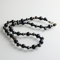 Freshwater Pearl  and Crystal Necklace - UK Free Post