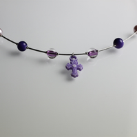 Purple Cross Tigertail Necklace