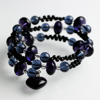 Purple, Blue and Black Memory Bracelet