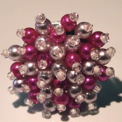 Pink and White Pearly Bead Ring (adjustable)