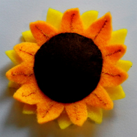 Sunflower Felt Brooch