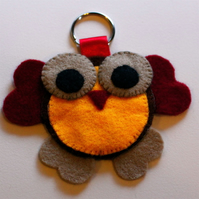 Cute Owl Felt Key Ring
