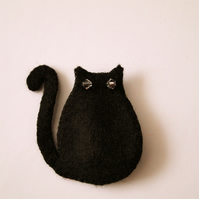 Lucky Black Cat Brooch with Swarovski Crystal Beads