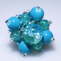 Beautiful Turquoise Colour Bead Ring - UK Free Post